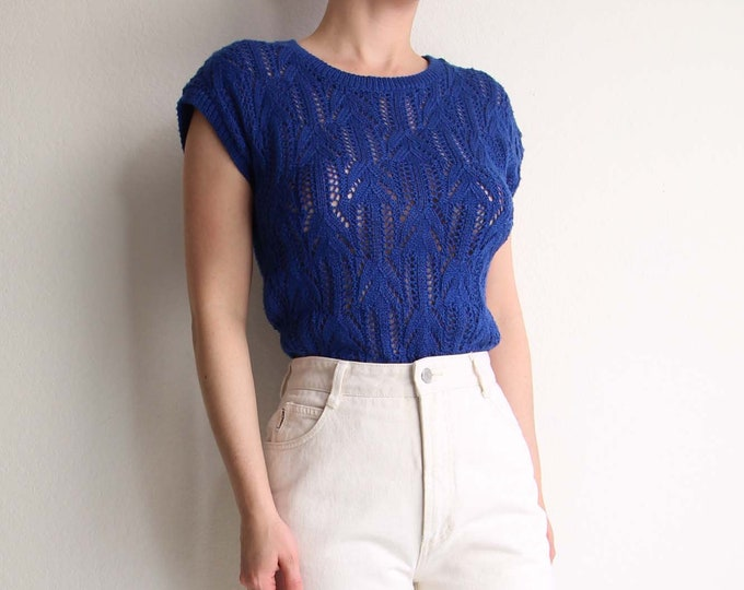 Vintage Blue Knit Top Womens Top Small