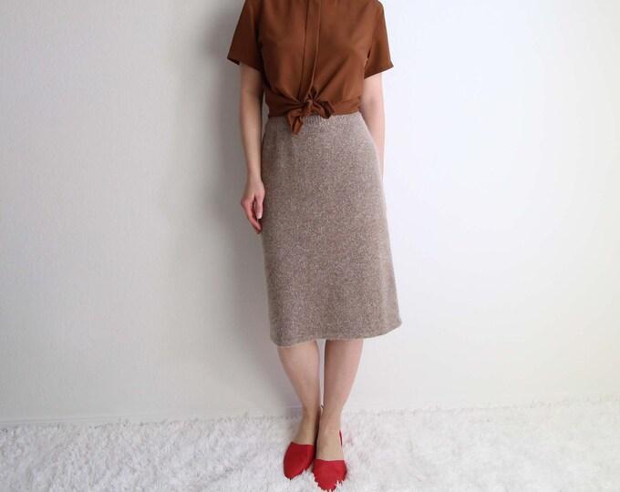 Vintage Angora Knit Skirt 1980s Soft Fuzzy Skirt Womens Small