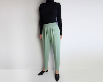 fd052a50466 Vintage Stirrup Pants 1980s Light Green Womens Small