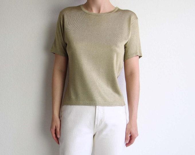 Vintage Gold Shirt Tshirt Tee Womens Top 1990s Shortsleeve Knit Small