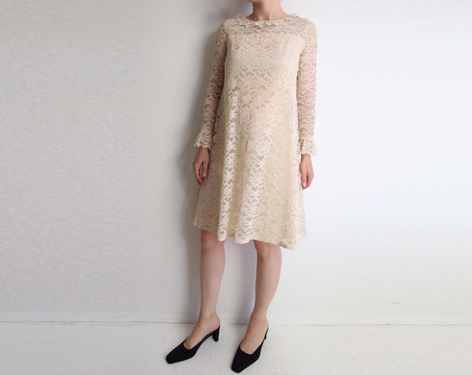 Vintage Lace Dress 1960s Baby Doll Shift Short Small
