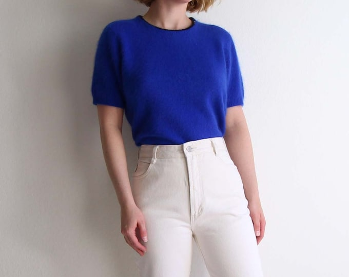 Vintage Angora Sweater Sequined Shortsleeve Knit Womens Top Medium