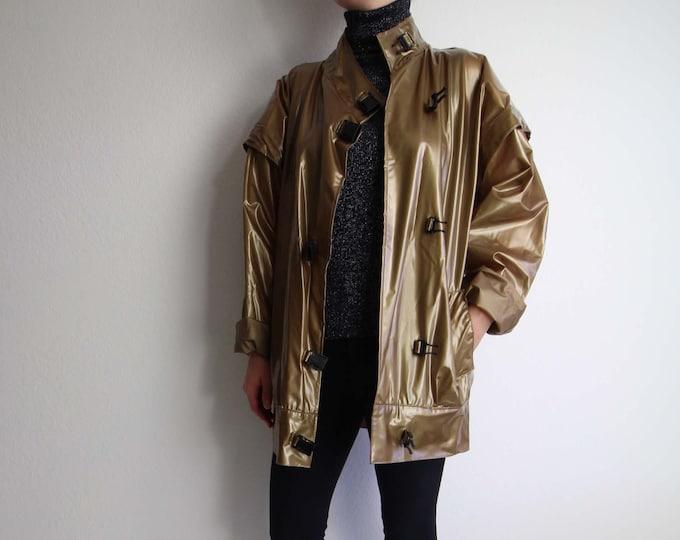 Vintage Raincoat Womens Jacket 1980s Bronze Waterproof Large
