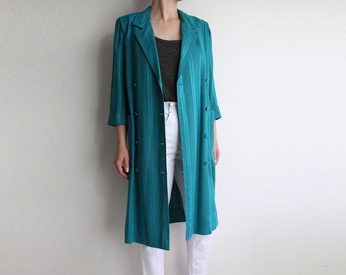 Vintage Dress Teal Green 1980s Belted Duster Womens Small