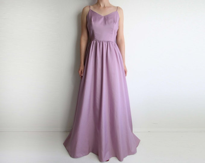 Vintage Dress Womens Gown Formal Floor Length 1970s Lilac Purple Small
