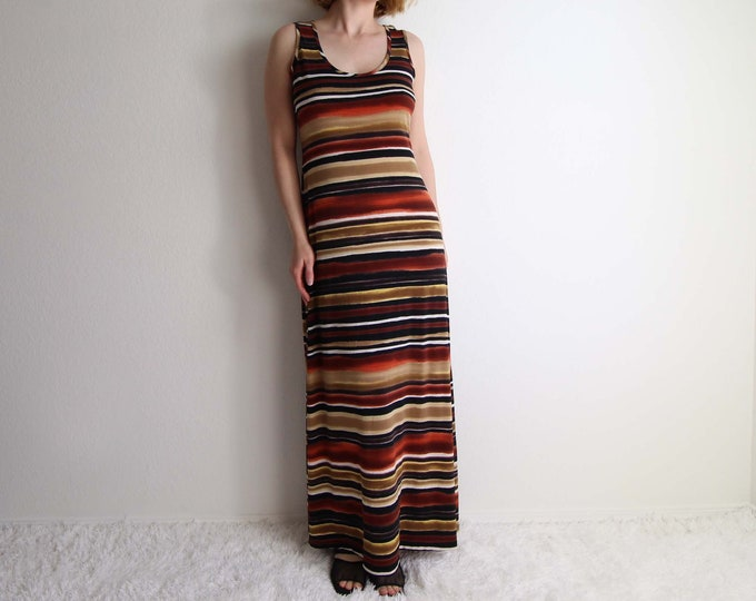 Vintage Tank Dress Maxi Dress 1990s Striped Long Womens Small