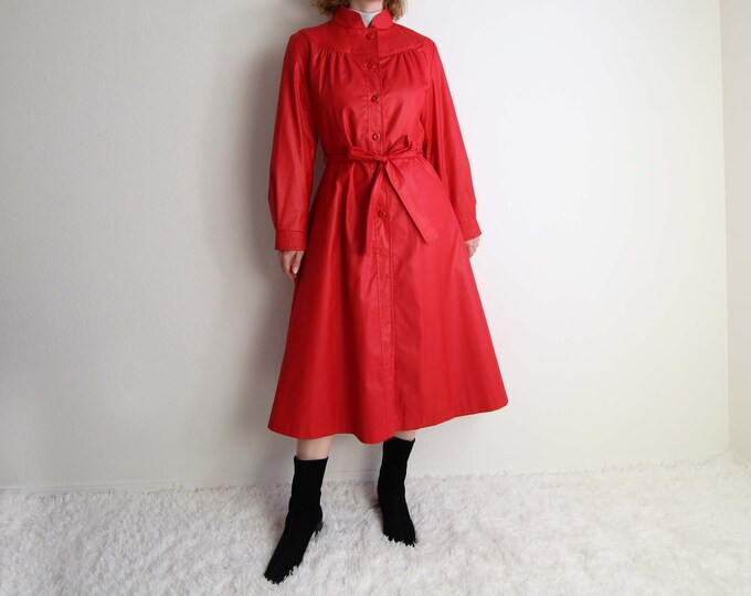 Vintage Red Trench Coat 1980s Womens Jacket Medium