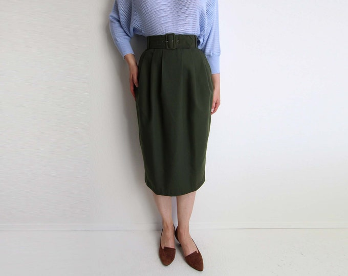 Vintage Skirt Womens 1980s Belted High Waist Olive Green Extra Small