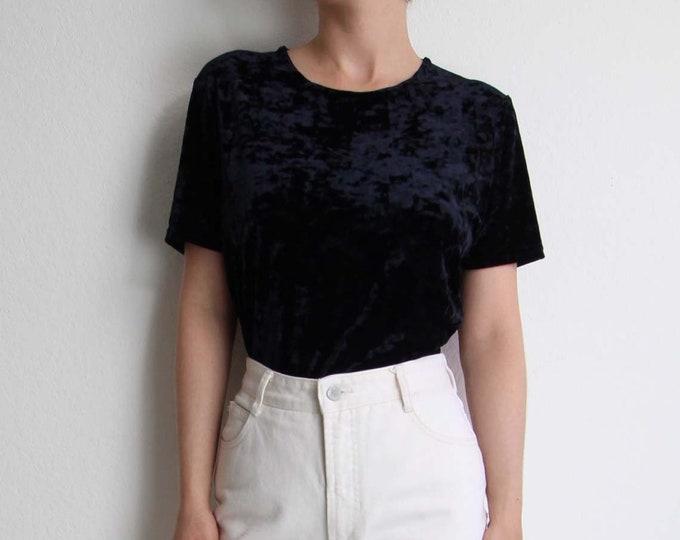 Vintage Crushed Velvet Shirt 1990s Womens Top Short Sleeve T Shirt Black Tee Medium