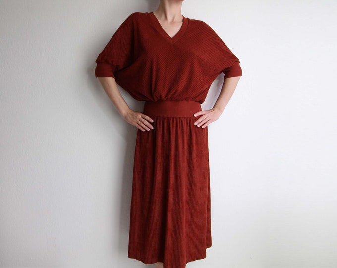 Vintage Terry Cloth Dress 1970s Rust Red Womens Medium