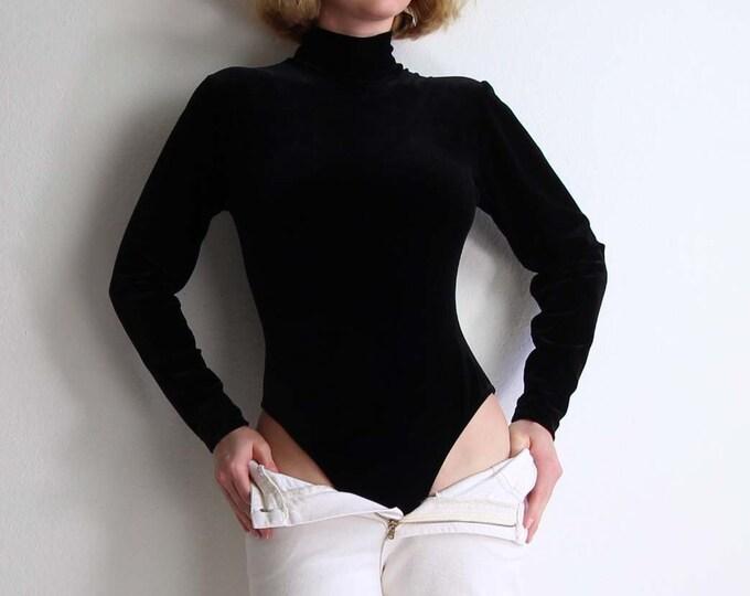 Vintage Bodysuit Black Velvet 1990s Mock Neck Longsleeve Womens Small Onepiece