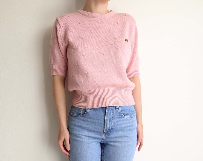 Vintage Pink Sweater Shortsleeve 1990s Womens Top Small