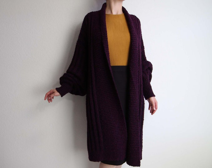 Vintage Slouchy Cardigan 1980s Boucle Knit Long Sweater Womens Large Purple