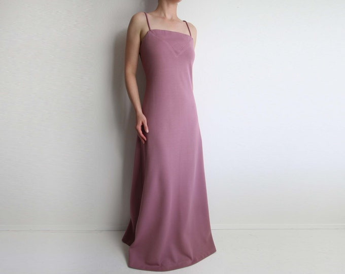 Vintage Maxi Dress Orchid Pink 1970s Dress Womens Extra Small