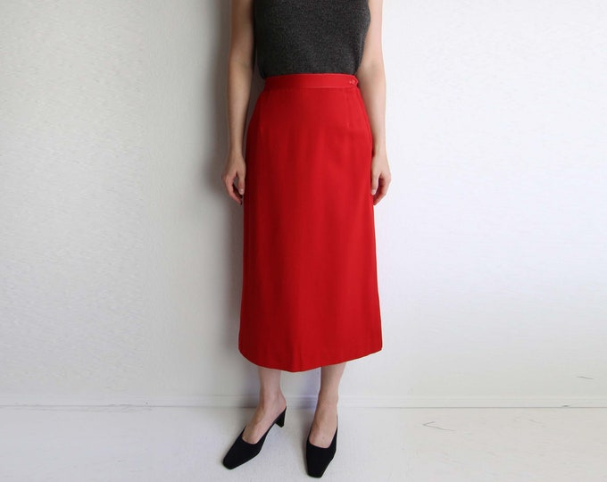 Vintage 1950s Skirt Red Skirt Long Womens Extra Small