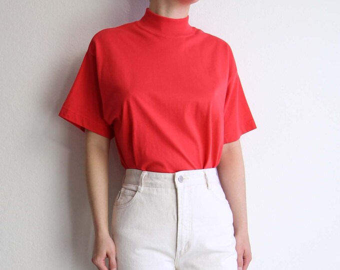 Vintage Tshirt Womens Top Mock Neck Shortsleeve Tee 1980s Poppy Red Cotton Shirt
