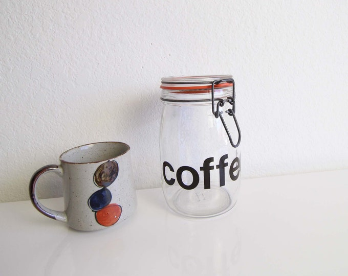 Vintage Glass Jar Coffee Container 1980s Kitchen Storage