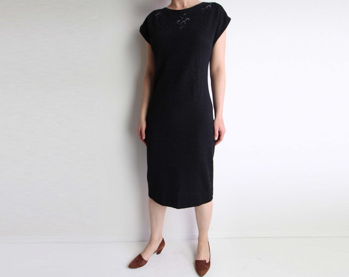 Vintage Dress Womens Knit Dress Beaded 1960s Cocktail Dress Charcoal Grey Medium
