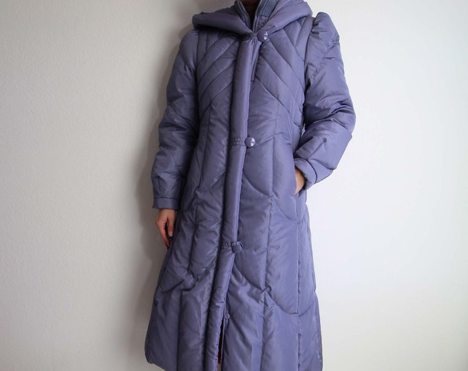 Vintage Puffy Coat 1980s Down Hooded Winter Coat Purple Womens Small