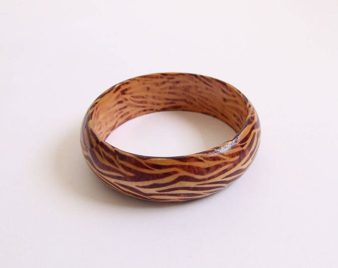 Vintage Bracelet Wood Bangle Wide Brown Womens Vintage Jewelry