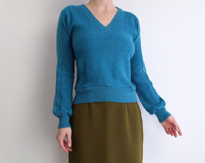 SALE Vintage Womens Sweater 1970s Knit Top Teal Blue Womens Top Extra Small