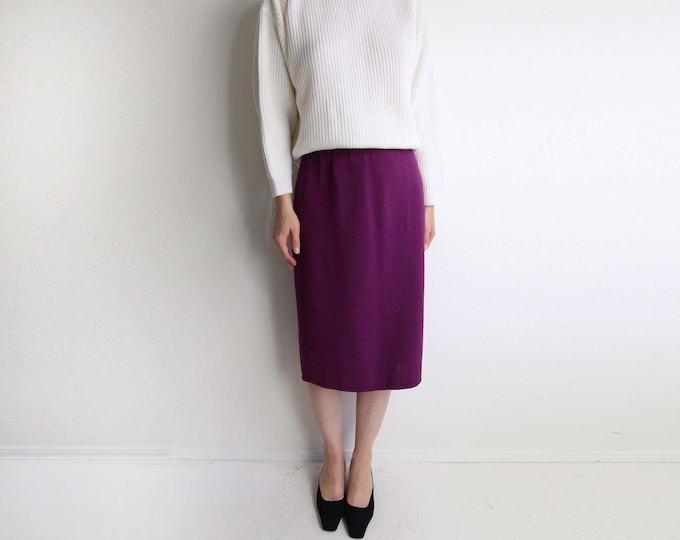 Vintage Skirt Women Knit 1970s Berry Purple Medium