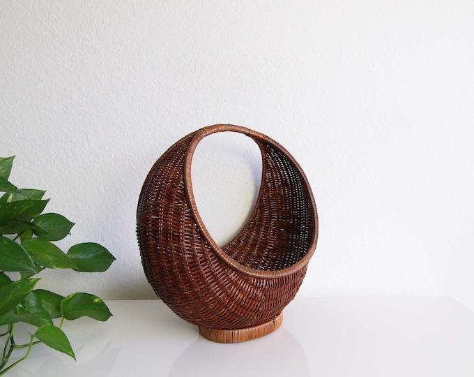 Basket Crescent Round Small Wicker Home Decor Indoor Planter