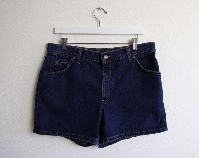 Vintage Levis Jean Shorts Womens 34 Large Dark Blue Denim Made in USA