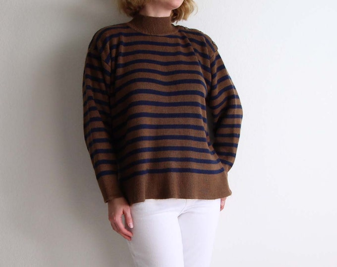 Vintage Striped Sweater 1980s Nautical Knit Shoulder Button Womens Top Medium