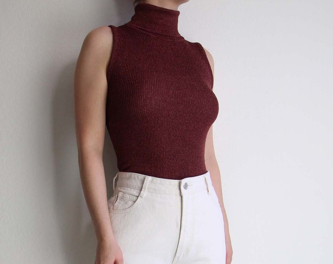 Vintage Sleeveless Turtleneck Womens Top 1990s Knit Top Extra Small