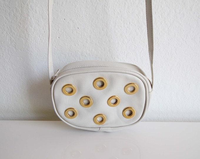 Vintage Purse White Leather Gold Dot Shoulder Bag Small