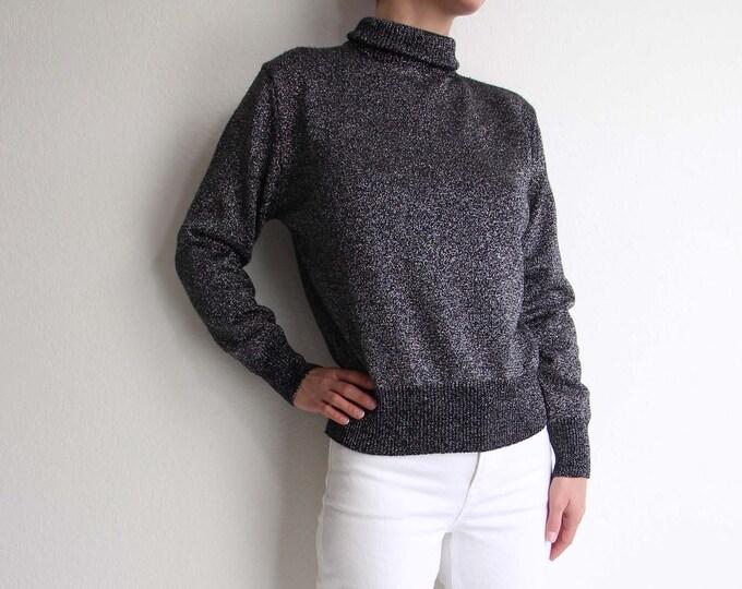 Vintage Metallic Knit Womens Top Small Black Silver Sweater Mockneck