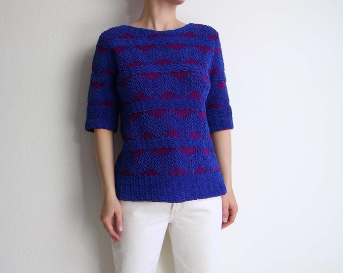 Vintage Sweater Knit Top 1960s Womens Top Small Blue Purple Shortsleeve
