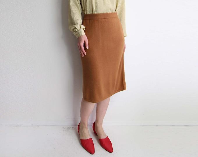 Vintage Knit Skirt 1980s Soft Caramel Sweater Skirt Womens Small