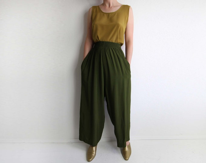 Vintage Womens Pants Wide Leg Olive Green High Waist Small