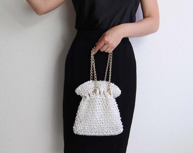 Vintage White Evening Bag Clear Bead Straw Gold Chain Handbag