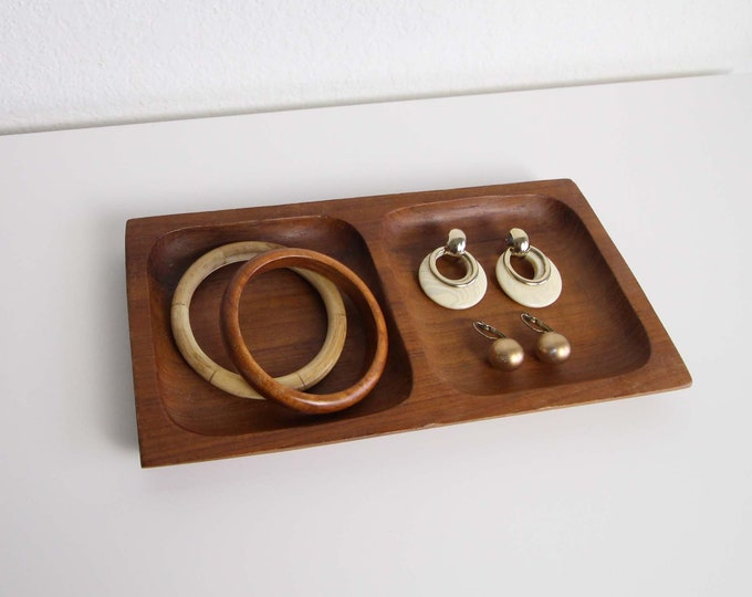 Vintage Ring Dish Jewelry Tray Mid Century Wood Home Decor Tray