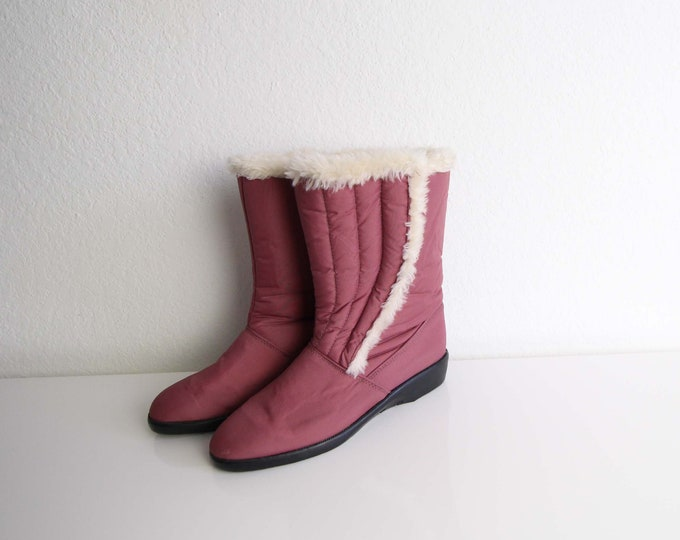 Vintage Snow Boots 1980s Pink Winter Boots Womens Shoes Size 6