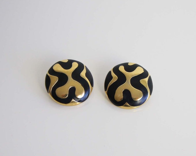 Vintage Modern Earrings 1980s Gold Black Round Pierced