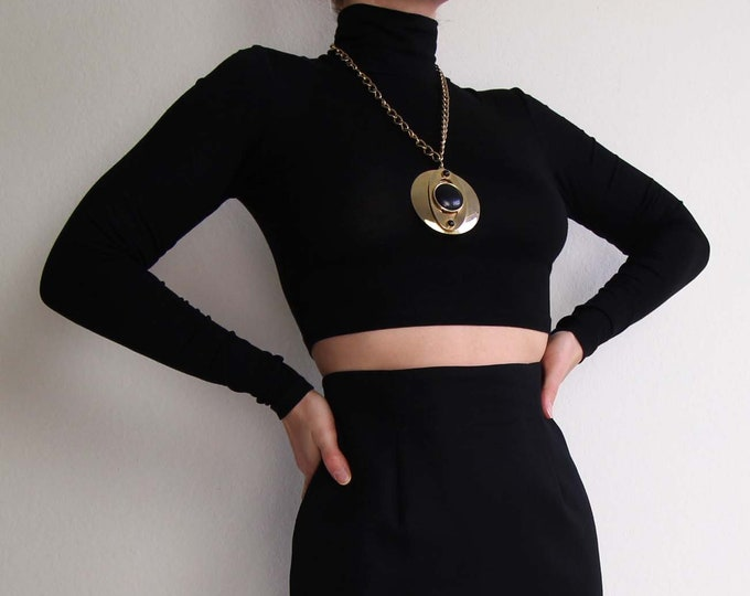 Vintage Pendant Necklace Large Round Black Brass Big Necklace Chain
