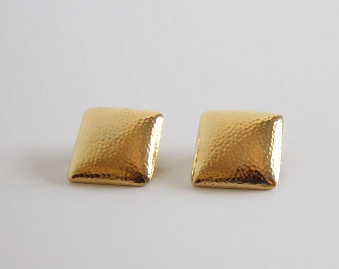 Vintage Earrings Gold Square 1980s Clip Ons