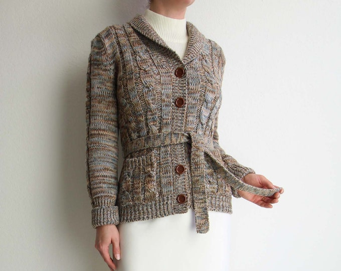 Vintage Sweater Womens Cardigan 1970s Space Dyed Belted Cardigan Extra Small