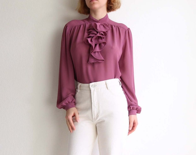 Vintage Pink Blouse Womens Top Large 1970s Ruffle Chiffon