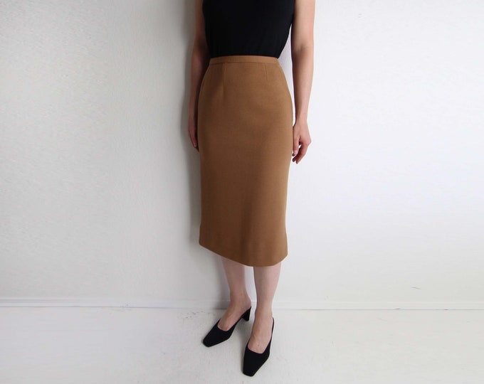 Vintage Knit Skirt Wool Pencil Skirt Womens Size Small Camel Brown