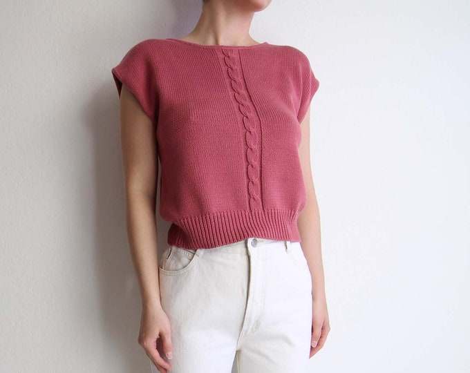 Vintage Pink Sweater Shortsleeve Knit Top Women Small