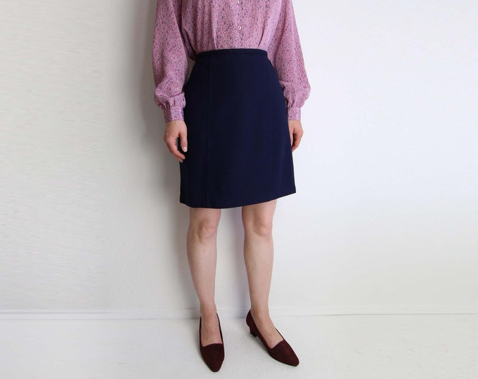 Vintage Skirt Navy Blue Skirt Short Wool 1980s Womens Medium