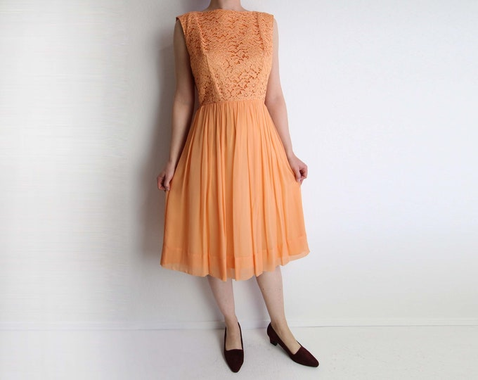 Vintage 1950s Dress Lace Chiffon Party Dress Apricot Orange Sleeveless Small