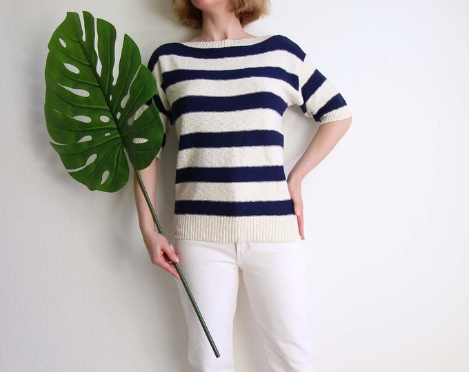 Vintage Knit Top Nautical Stripe Womens Sweater Small