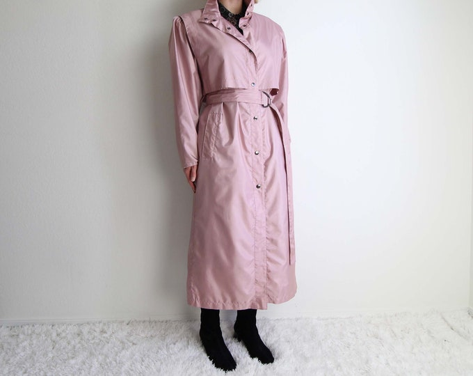 Vintage Pink Trench Coat Womens Jacket Small 1980s Belted Trench