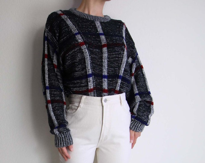 Vintage 1980s Sweater Black White Plaid Pullover Womens Medium
